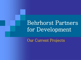 BPD Current Projects