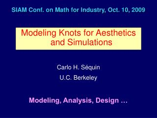 SIAM Conf. on Math for Industry, Oct. 10, 2009