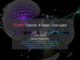 EGAN  Tutorial: A Basic Use-case