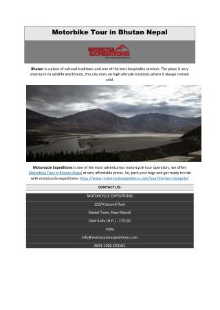 Motorbike Tour in Bhutan Nepal