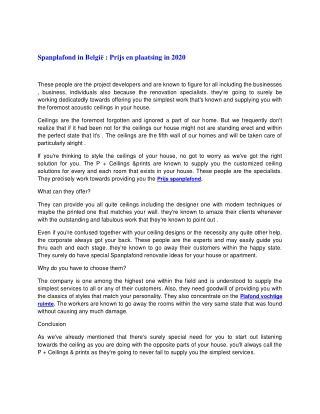 Spanplafond in België : Prijs en plaatsing in 2020