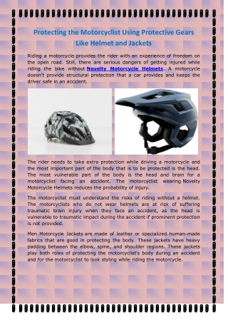 Protecting the Motorcyclist Using Protective Gears Like Helmet And Jackets