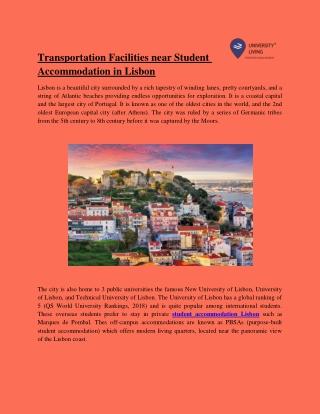Transportation facilities near student accommodation in lisbon