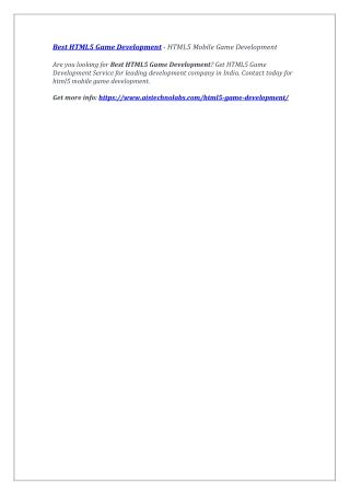 Best HTML5 Game Development - HTML5 Mobile Game Development