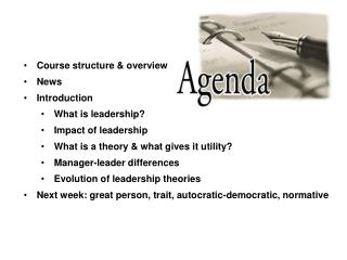 Course structure & overview News Introduction What is leadership? Impact of leadership What is a theory & what g