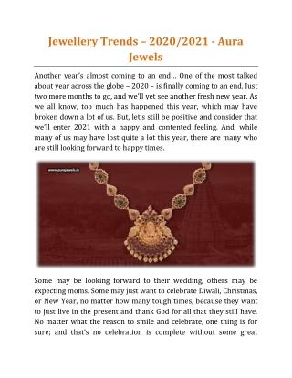 Jewellery Trends – 2020-2021 - Aura Jewels