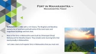 Maharashtra's Historic Forts - Maharashstra Today