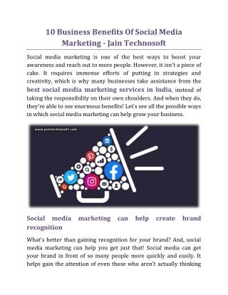 10 Business Benefits Of Social Media Marketing - Jain Technosoft