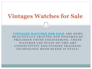Vintages Watches forSale