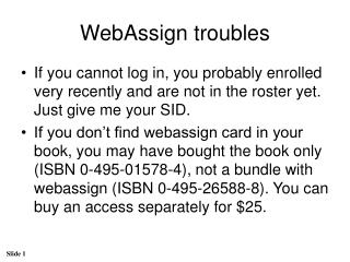WebAssign troubles
