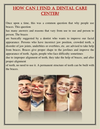 How can I find a dental care center?