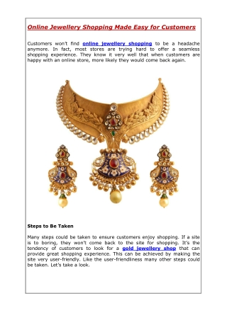 Online Jewellery Shopping Made Easy for Customers
