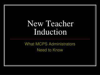 New Teacher Induction