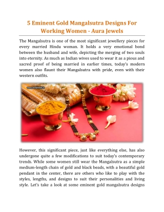 5 Eminent Gold Mangalsutra Designs For Working Women - Aura Jewels