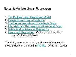 Notes 6: Multiple Linear Regression