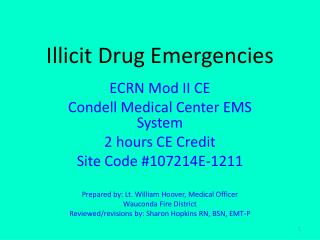 Illicit Drug Emergencies
