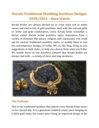 Kerala Traditional Wedding Necklace Designs 2020/2021 - Aura Jewels