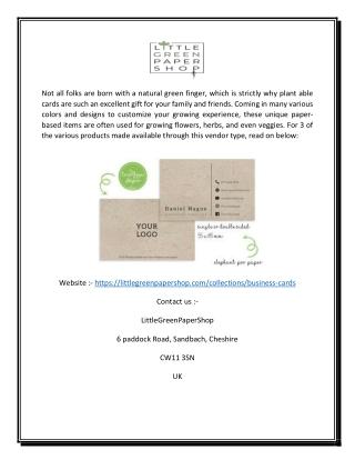 Seed Paper Business Cards | Littlegreenpapershop.com