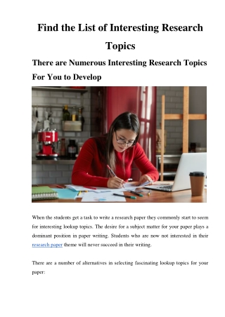 Find the List of Interesting Research Topics