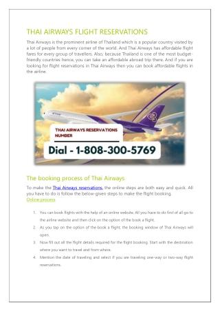 THAI AIRWAYS FLIGHT RESERVATIONS