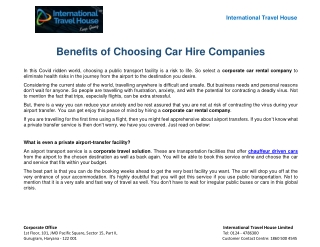 Benefits of Choosing Car Hire Companies
