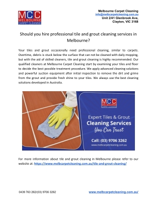 Should you hire professional tile and grout cleaning services in Melbourne?