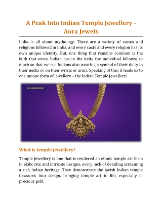 A Peak Into Indian Temple Jewellery - Aura Jewels