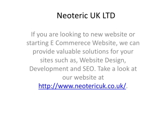 Ecommerce Solutions and Software, SEO consultants - Neoteric UK LTD