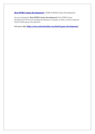 Best HTML5 Game Development   HTML5 Mobile Game Development