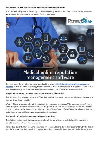 Healthcare online reputation management