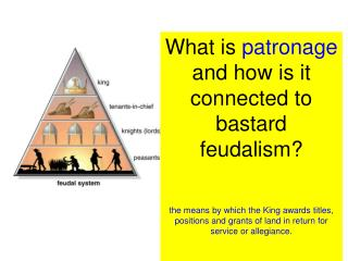 What is  patronage  and how is it connected to bastard feudalism?