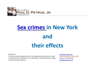 Sex Crimes in New York and Their Effects