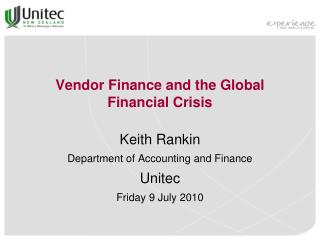 Vendor Finance and the Global Financial Crisis