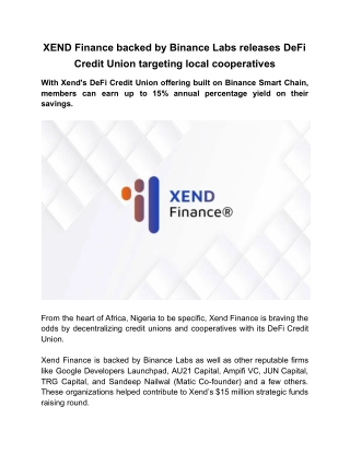 XEND Finance Backed by Binance Labs Releases DeFi Credit Union Targeting Local Cooperatives
