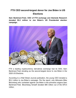 FTX CEO Second-largest Donor for Joe Biden in US Elections