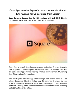 Cash App Remains Square's Cash Cow, Nets in Almost 80% Revenue for Q3 Earnings From Bitcoin