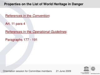 Properties on the List of World Heritage in Danger