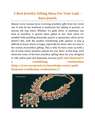 5 Best Jewelry Gifting Ideas For Your Lady - Aura Jewels