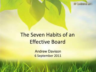 The Seven Habits of an Effective Board