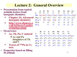 Lecture 2:  General Overview
