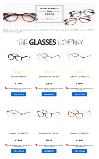 Frames with Lenses from £20 at The Glasses Company