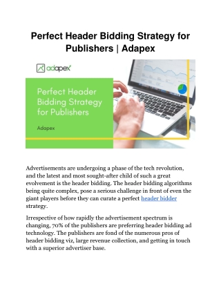 Perfect Header Bidding Strategy for Publishers | Adapex.