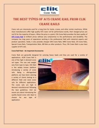 The Best Types of A75 Crane Rail from Clik Crane Rails