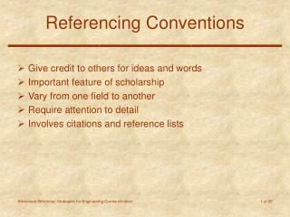 Referencing Conventions