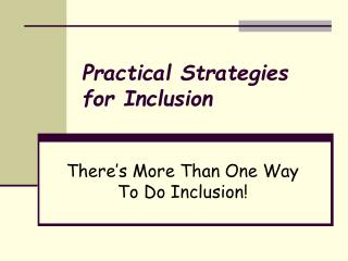 Practical Strategies for Inclusion