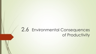 2.6 Environmental Consequences of Productivity