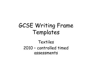 GCSE Writing Frame Templates