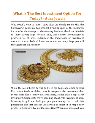 What Is The Best Investment Option For Today - Aura Jewels