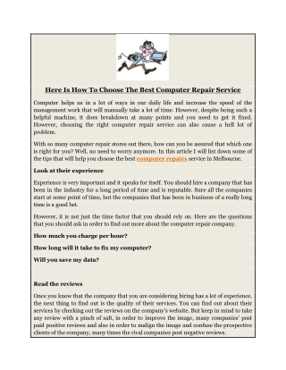 Here Is How To Choose The Best Computer Repair Service