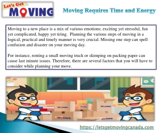Moving Requires Time and Energy